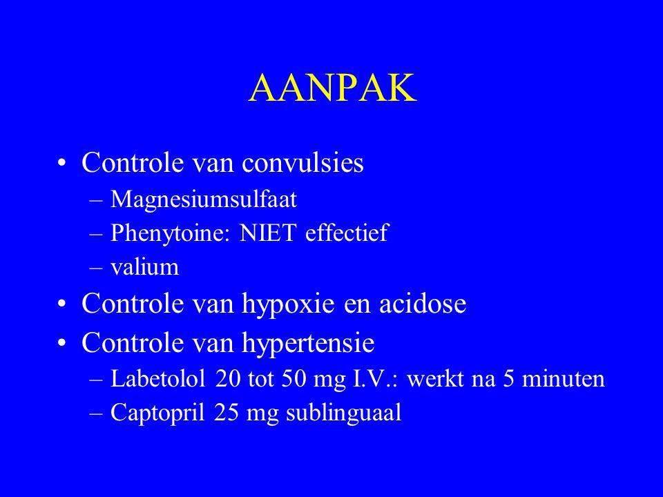 AANPAK Controle van convulsies –Magnesiumsulfaat –Phenytoine: NIET effectief –valium Controle van hypoxie en acidose Controle van hypertensie –Labetol