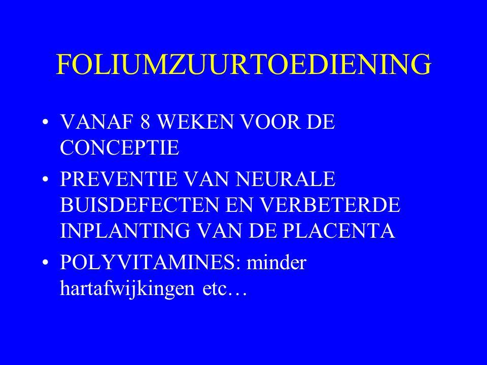 FOLIUMZUURTOEDIENING VANAF 8 WEKEN VOOR DE CONCEPTIE PREVENTIE VAN NEURALE BUISDEFECTEN EN VERBETERDE INPLANTING VAN DE PLACENTA POLYVITAMINES: minder