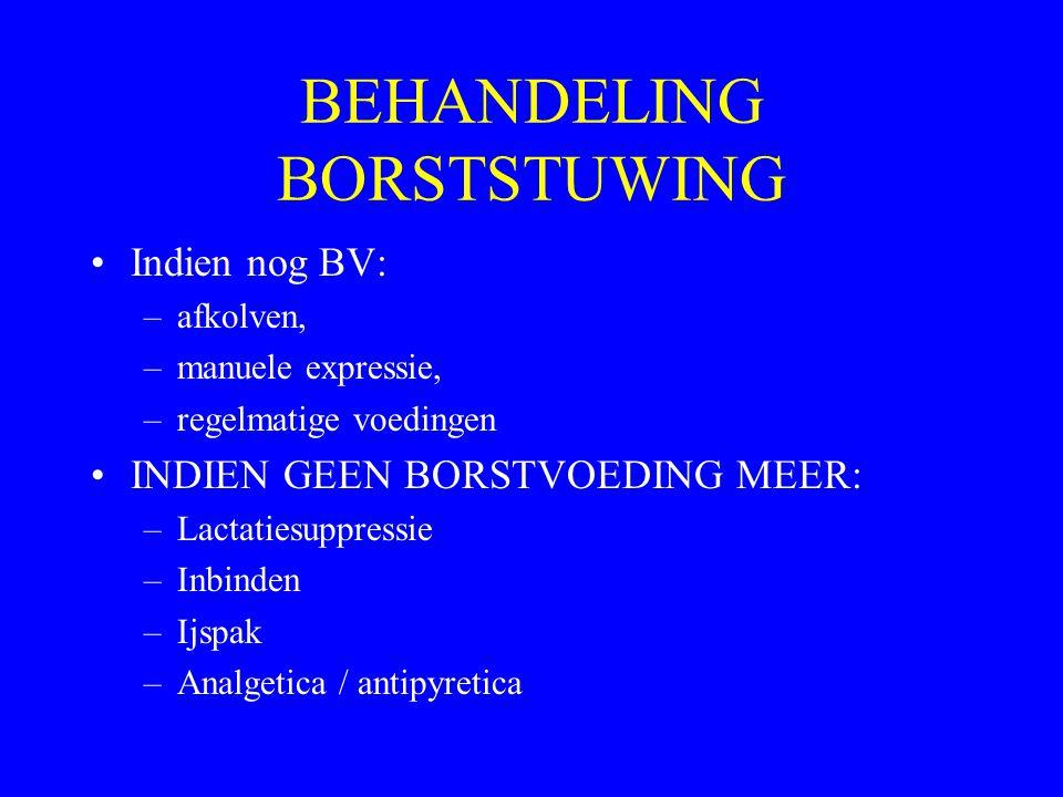 BEHANDELING BORSTSTUWING Indien nog BV: –afkolven, –manuele expressie, –regelmatige voedingen INDIEN GEEN BORSTVOEDING MEER: –Lactatiesuppressie –Inbi