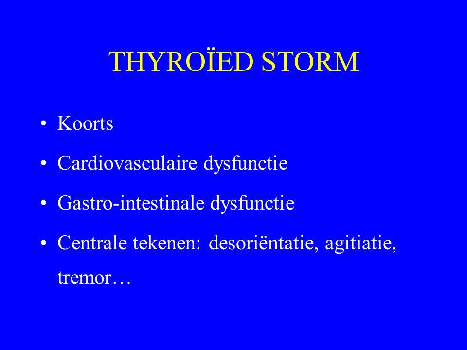 THYROÏED STORM Koorts Cardiovasculaire dysfunctie Gastro-intestinale dysfunctie Centrale tekenen: desoriëntatie, agitiatie, tremor…