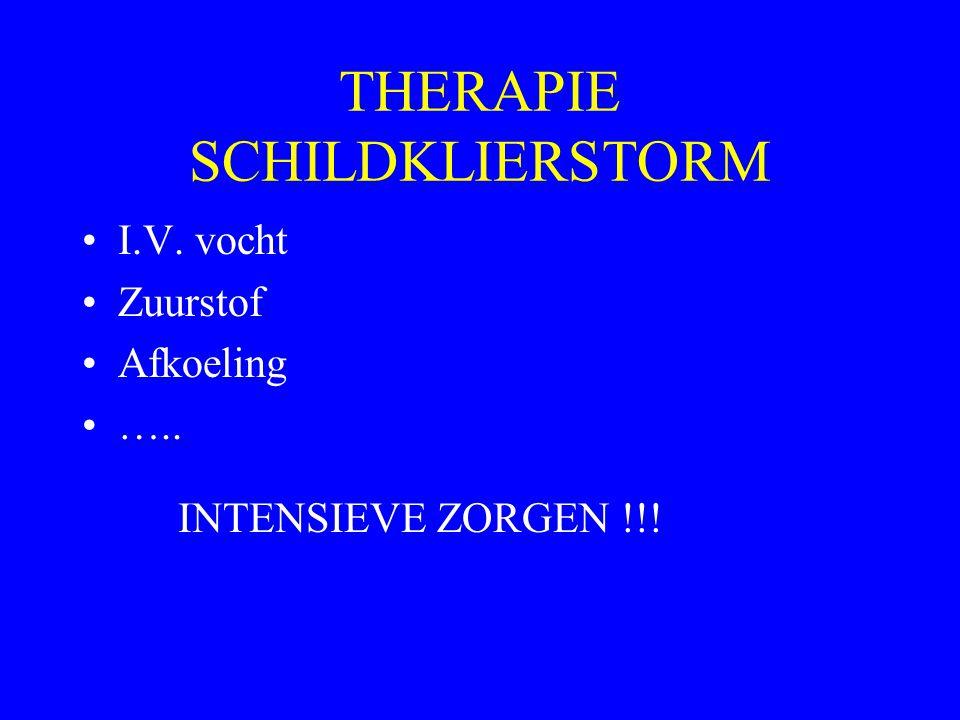 THERAPIE SCHILDKLIERSTORM I.V. vocht Zuurstof Afkoeling ….. INTENSIEVE ZORGEN !!!