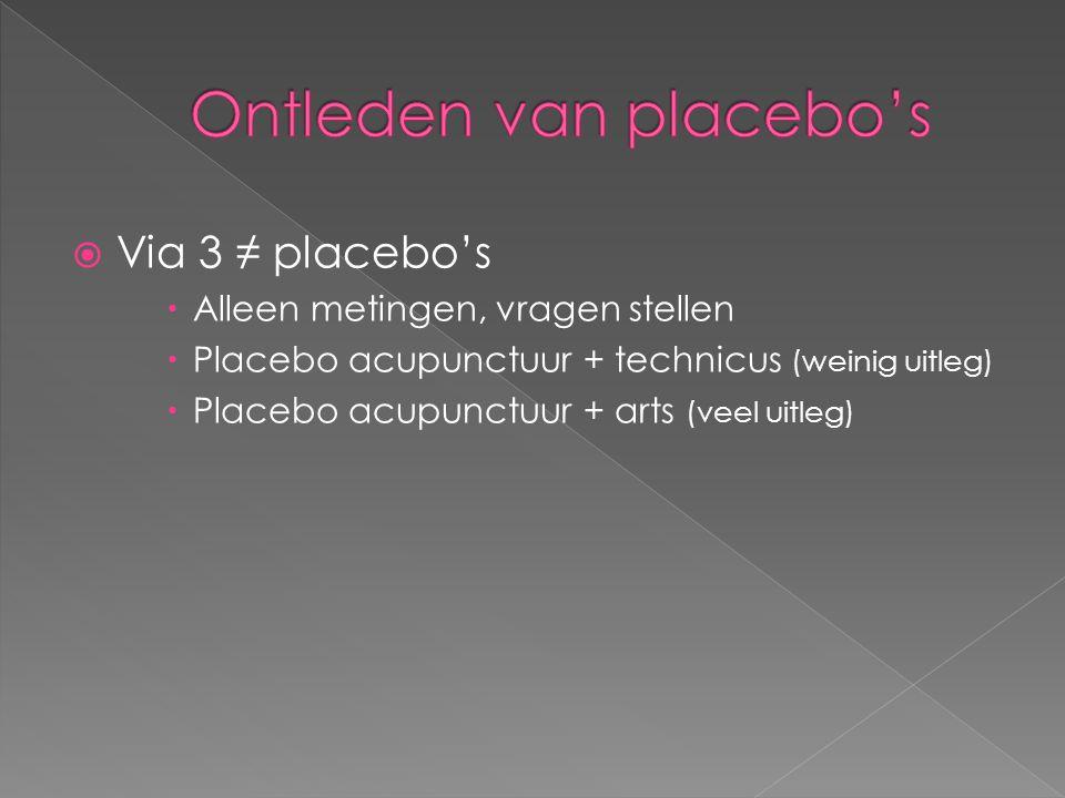  Via 3 ≠ placebo's  Alleen metingen, vragen stellen  Placebo acupunctuur + technicus (weinig uitleg)  Placebo acupunctuur + arts (veel uitleg)