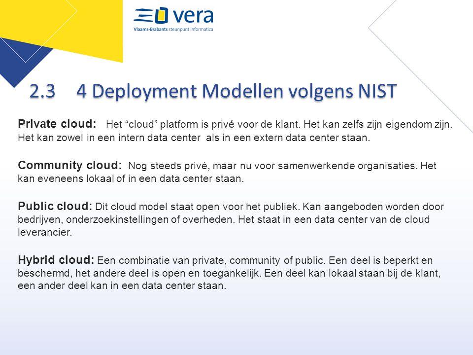 """2.3 4 Deployment Modellen volgens NIST Private cloud: Het """"cloud"""" platform is privé voor de klant. Het kan zelfs zijn eigendom zijn. Het kan zowel in"""