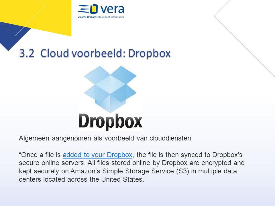 """Algemeen aangenomen als voorbeeld van clouddiensten """"Once a file is added to your Dropbox, the file is then synced to Dropbox's secure online servers."""