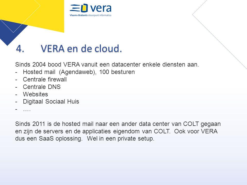 4.VERA en de cloud. Sinds 2004 bood VERA vanuit een datacenter enkele diensten aan. -Hosted mail (Agendaweb), 100 besturen -Centrale firewall -Central