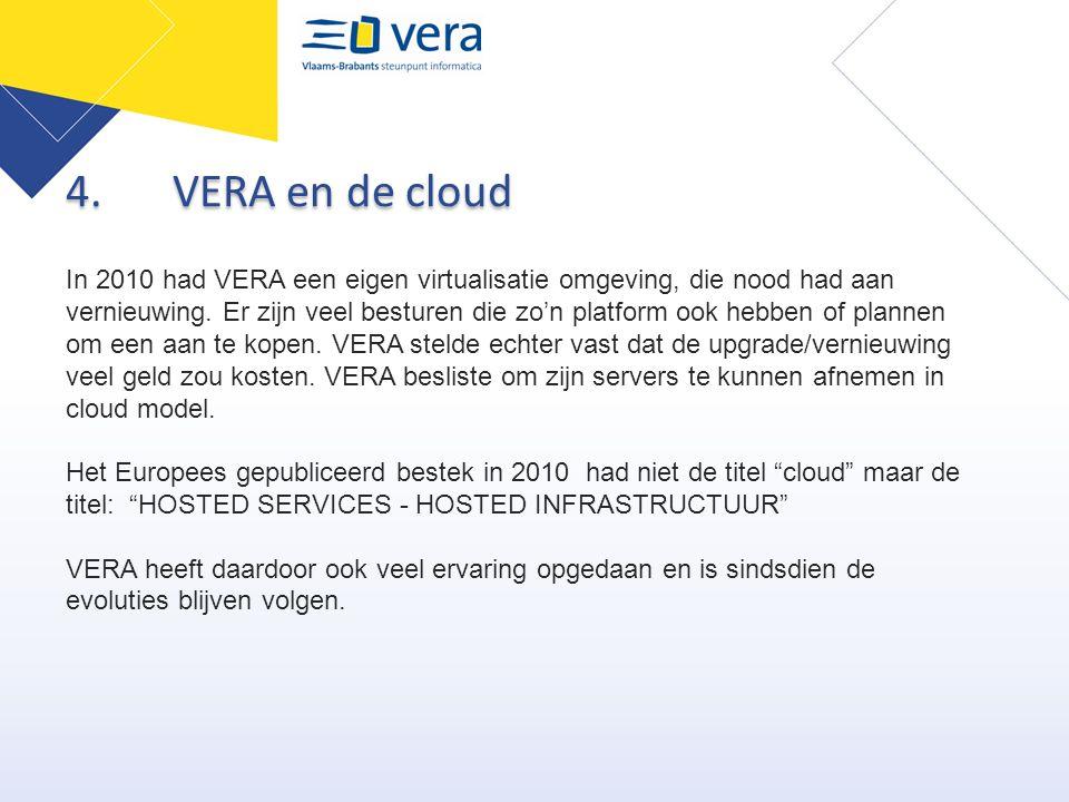 4.VERA en de cloud In 2010 had VERA een eigen virtualisatie omgeving, die nood had aan vernieuwing. Er zijn veel besturen die zo'n platform ook hebben