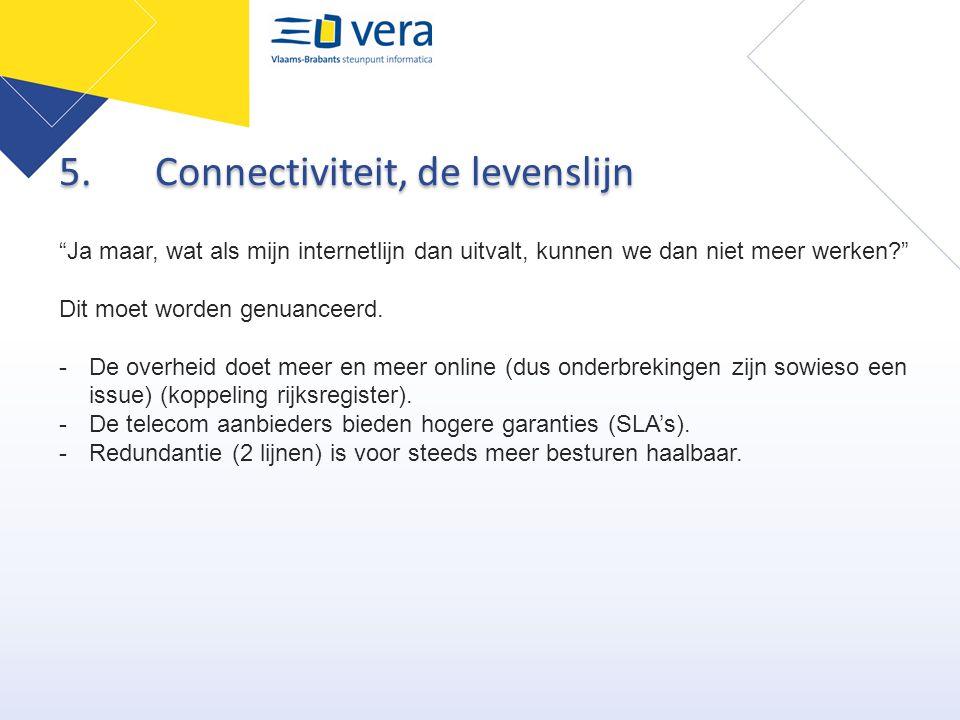 """5.Connectiviteit, de levenslijn """"Ja maar, wat als mijn internetlijn dan uitvalt, kunnen we dan niet meer werken?"""" Dit moet worden genuanceerd. -De ove"""