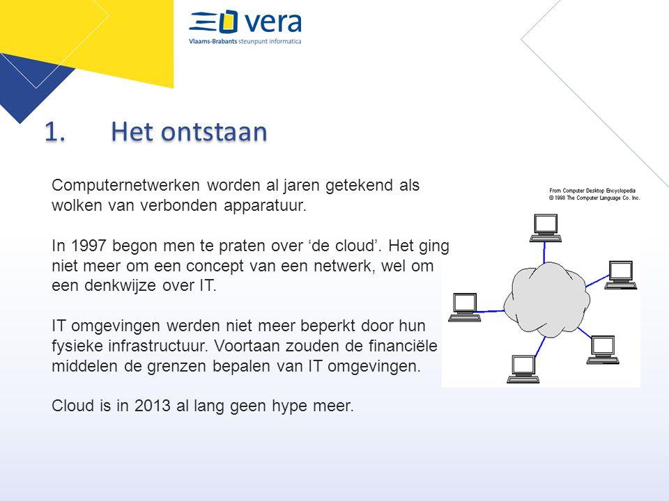1.Het ontstaan Computernetwerken worden al jaren getekend als wolken van verbonden apparatuur. In 1997 begon men te praten over 'de cloud'. Het ging n