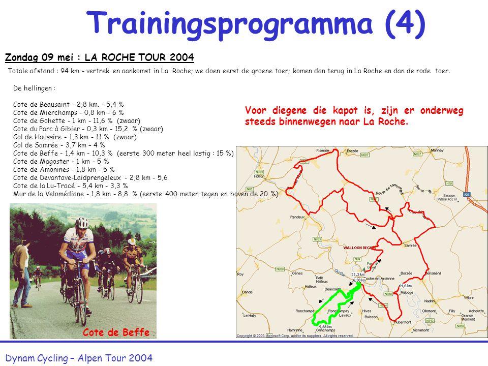 Trainingsprogramma (3) Dynam Cycling – Alpen Tour 2004 Zaterdag 17 april : HAGELAND CLASSIC 2004 Prijs : 3,50 Euro Schoonderbuken 90