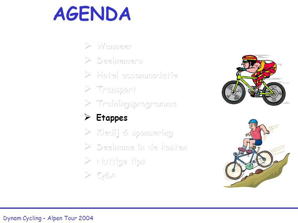 Trainingsprogramma (5) Dynam Cycling – Alpen Tour 2004 Zondag 30 mei : TILFF-BASTOGNE-TILFF Prijs : 2,50 Euro
