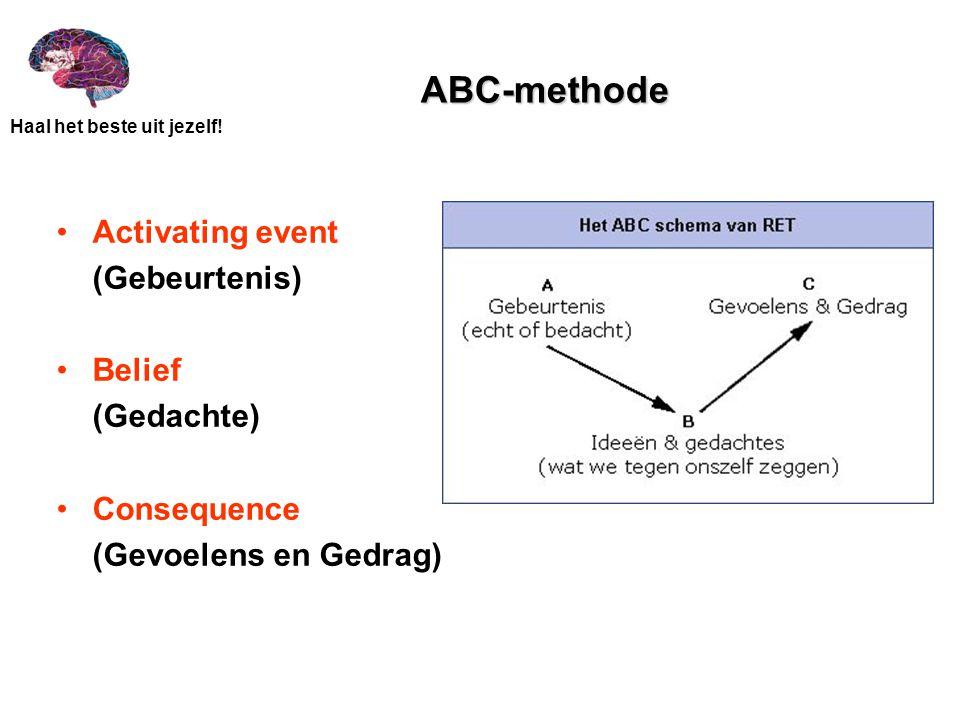Haal het beste uit jezelf! ABC-methode Activating event (Gebeurtenis) Belief (Gedachte) Consequence (Gevoelens en Gedrag)