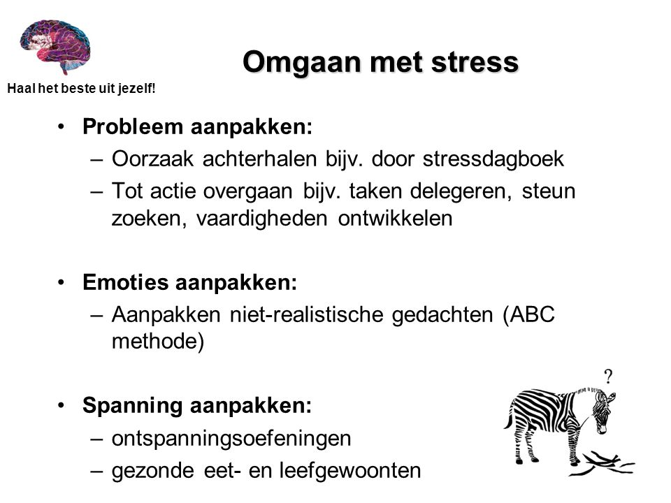 Omgaan met stress Probleem aanpakken: –Oorzaak achterhalen bijv. door stressdagboek –Tot actie overgaan bijv. taken delegeren, steun zoeken, vaardighe