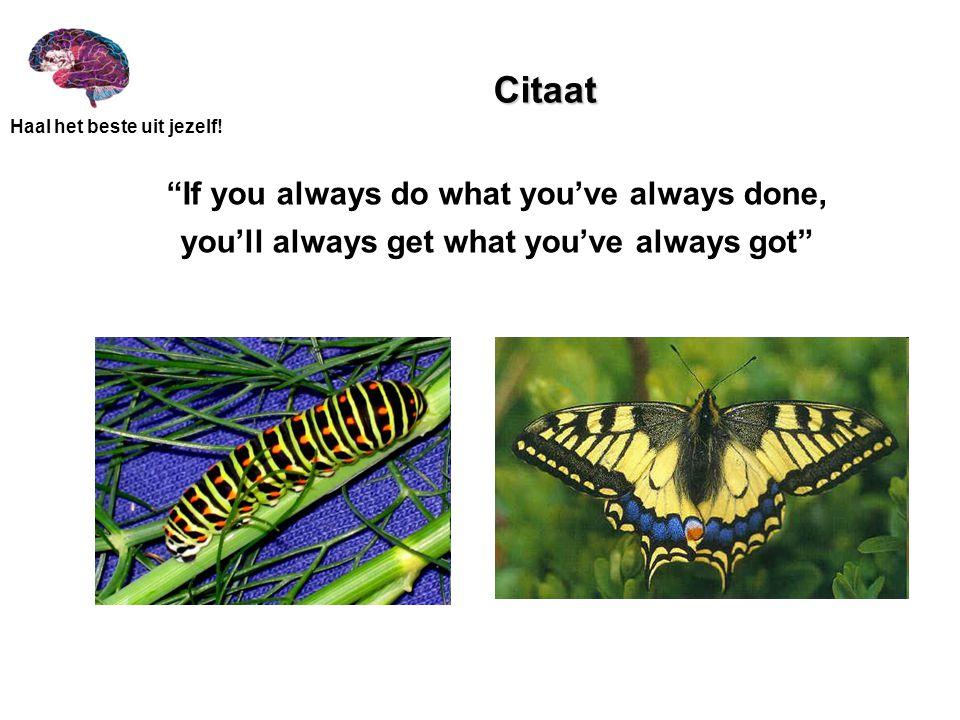 """Haal het beste uit jezelf! Citaat """"If you always do what you've always done, you'll always get what you've always got"""""""