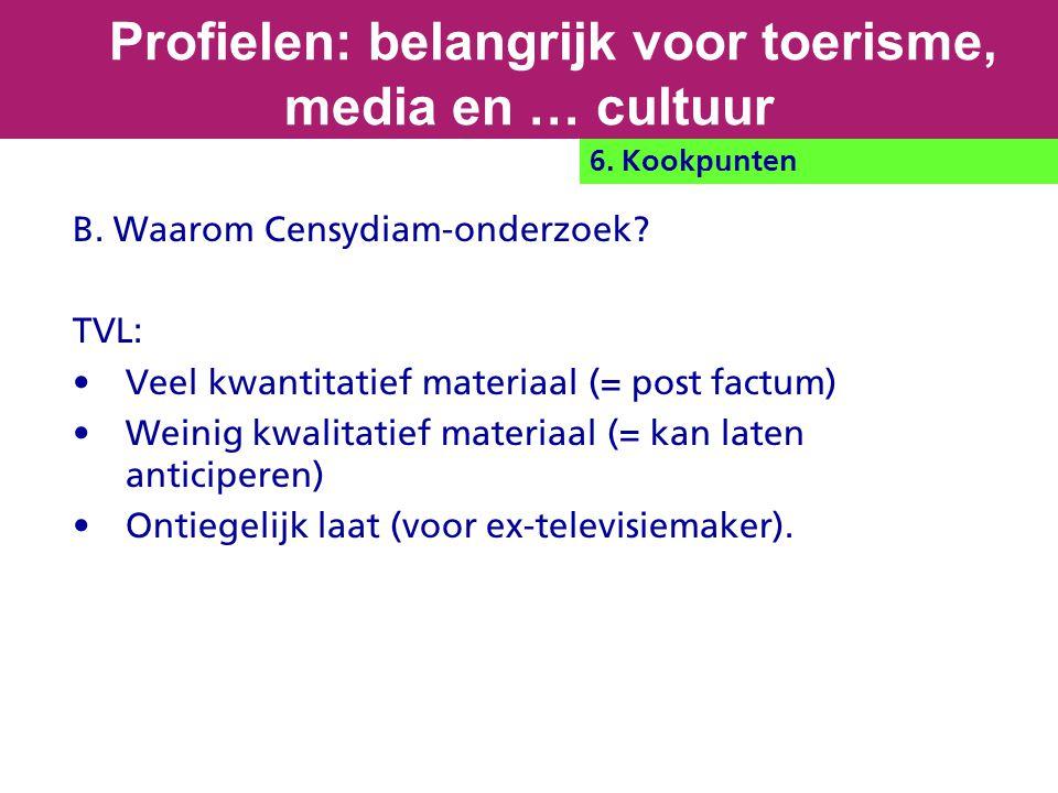 B. Waarom Censydiam-onderzoek? TVL: Veel kwantitatief materiaal (= post factum) Weinig kwalitatief materiaal (= kan laten anticiperen) Ontiegelijk laa