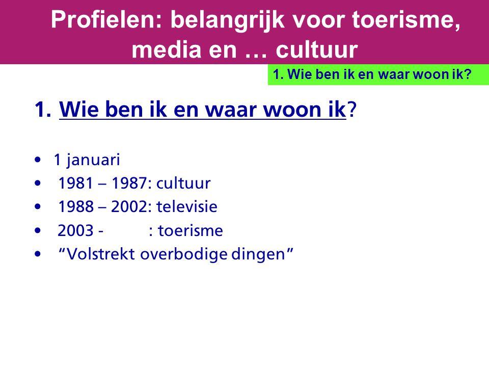 """1. Wie ben ik en waar woon ik? 1 januari 1981 – 1987: cultuur 1988 – 2002: televisie 2003 - : toerisme """"Volstrekt overbodige dingen"""" Profielen: belang"""