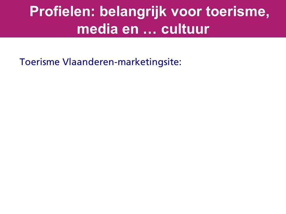 Toerisme Vlaanderen-marketingsite: Profielen: belangrijk voor toerisme, media en … cultuur