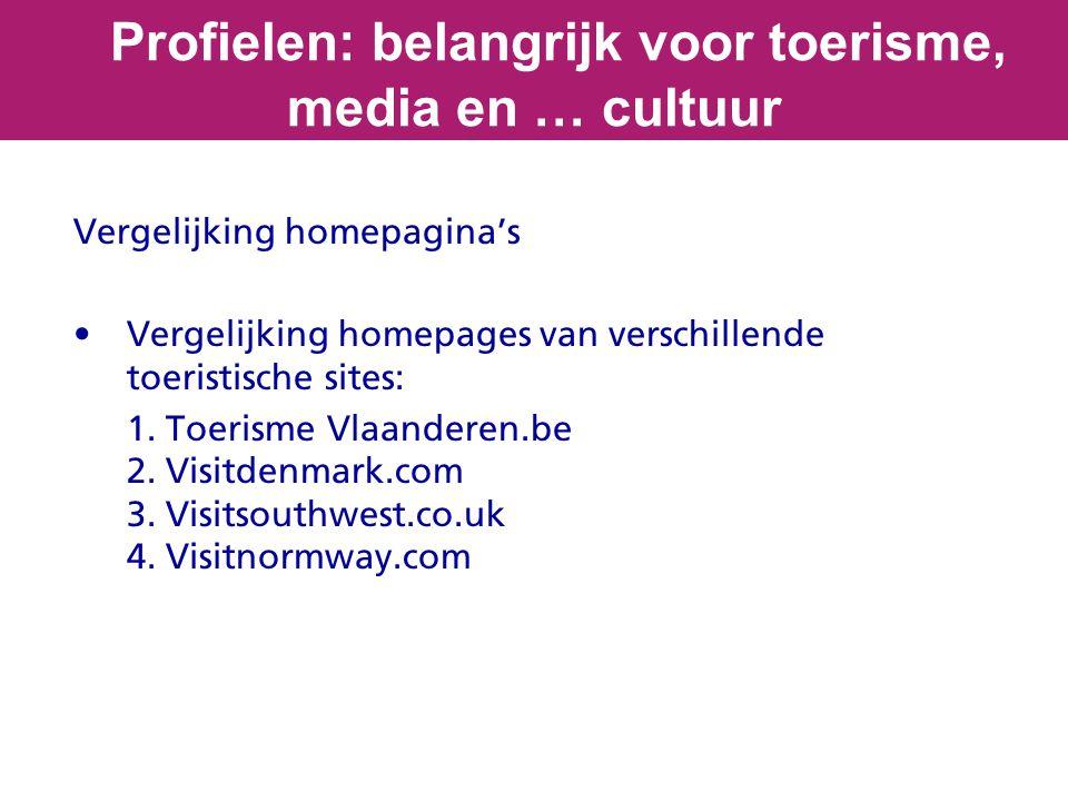 Vergelijking homepagina's Vergelijking homepages van verschillende toeristische sites: 1. Toerisme Vlaanderen.be 2. Visitdenmark.com 3. Visitsouthwest