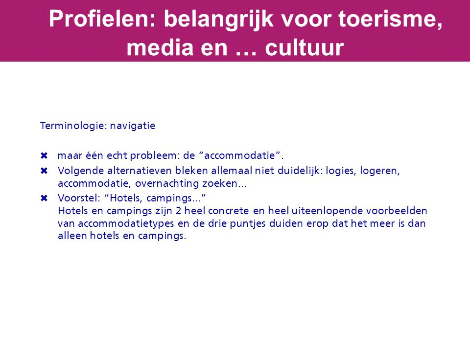 Profielen: belangrijk voor toerisme, media en … cultuur Terminologie: navigatie  maar één echt probleem: de accommodatie .