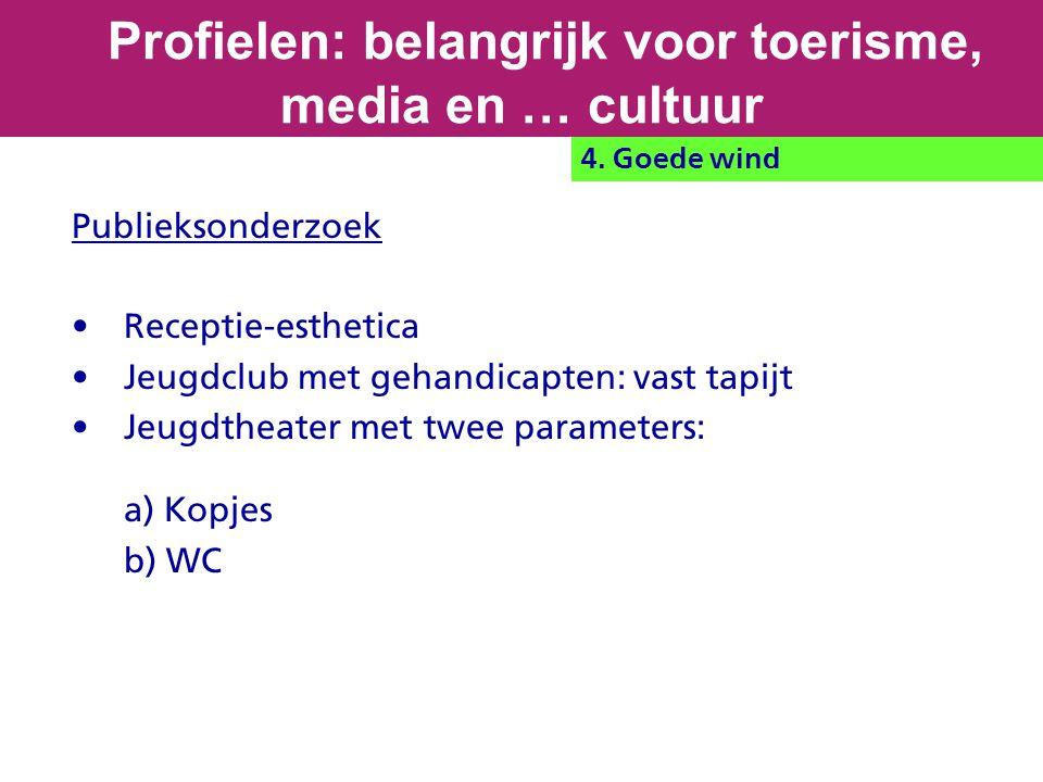 Publieksonderzoek Receptie-esthetica Jeugdclub met gehandicapten: vast tapijt Jeugdtheater met twee parameters: a) Kopjes b) WC Profielen: belangrijk voor toerisme, media en … cultuur 4.