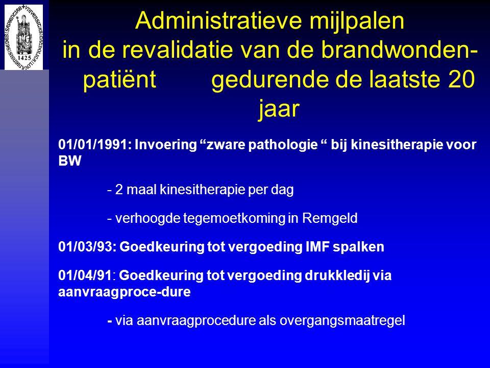 Administratieve mijlpalen in de revalidatie van de brandwonden- patiënt gedurende de laatste 20 jaar 01/01/1991: Invoering zware pathologie bij kinesitherapie voor BW - 2 maal kinesitherapie per dag - verhoogde tegemoetkoming in Remgeld 01/03/93: Goedkeuring tot vergoeding IMF spalken 01/04/91: Goedkeuring tot vergoeding drukkledij via aanvraagproce-dure - via aanvraagprocedure als overgangsmaatregel