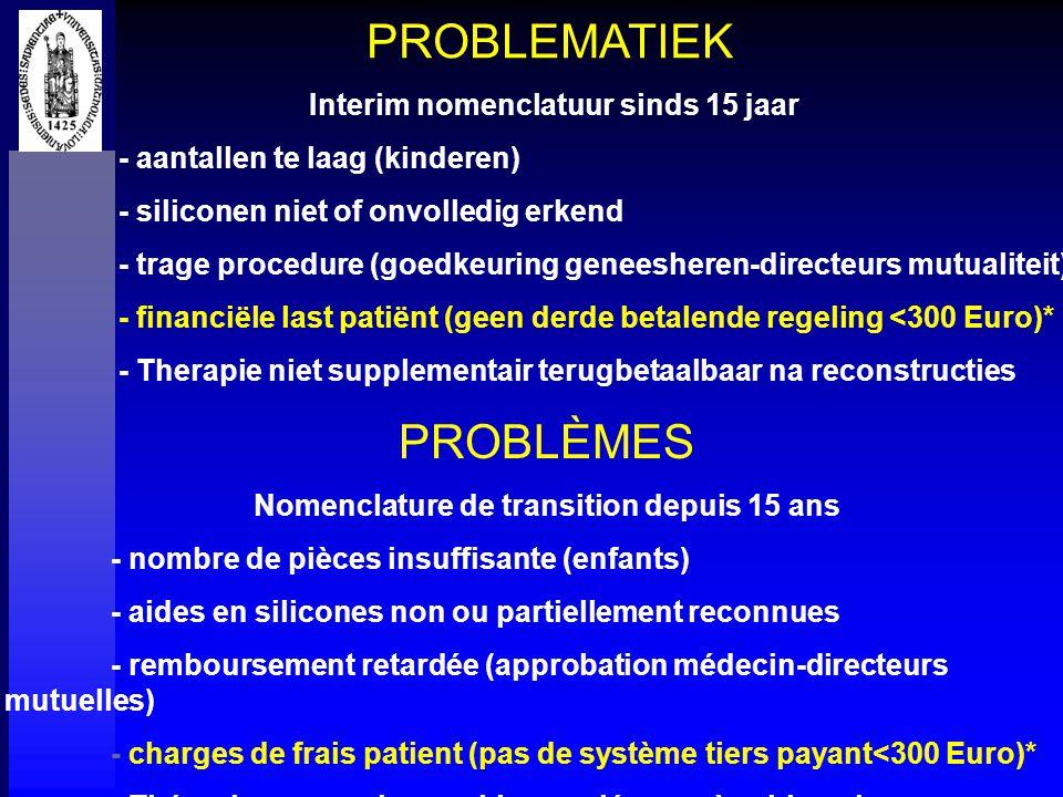 PROBLEMATIEK Interim nomenclatuur sinds 15 jaar - aantallen te laag (kinderen) - siliconen niet of onvolledig erkend - trage procedure (goedkeuring ge