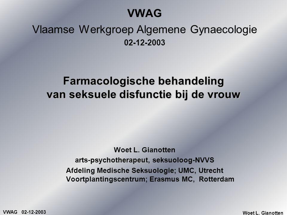 VWAG 02-12-2003 Woet L. Gianotten Farmacologische behandeling van seksuele disfunctie bij de vrouw VWAG Vlaamse Werkgroep Algemene Gynaecologie 02-12-