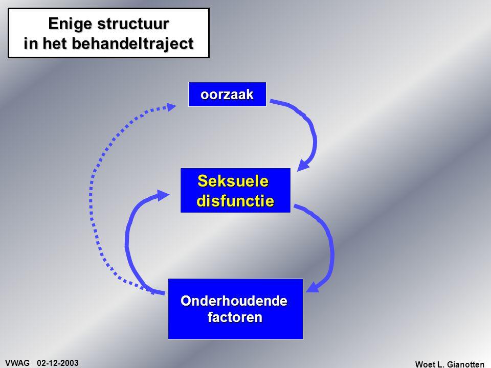 VWAG 02-12-2003 Woet L. Gianotten Enige structuur in het behandeltraject oorzaak Onderhoudendefactoren Seksueledisfunctie