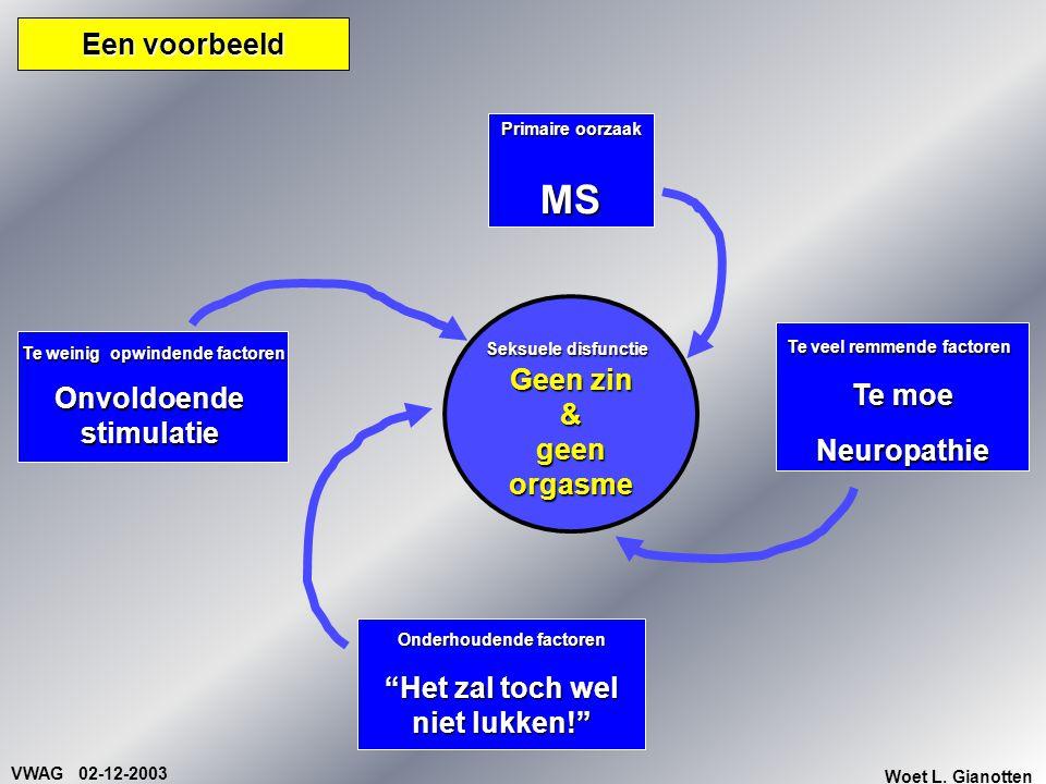 """VWAG 02-12-2003 Woet L. Gianotten Een voorbeeld Primaire oorzaak MS Onderhoudende factoren """"Het zal toch wel niet lukken!"""" Te veel remmende factoren T"""