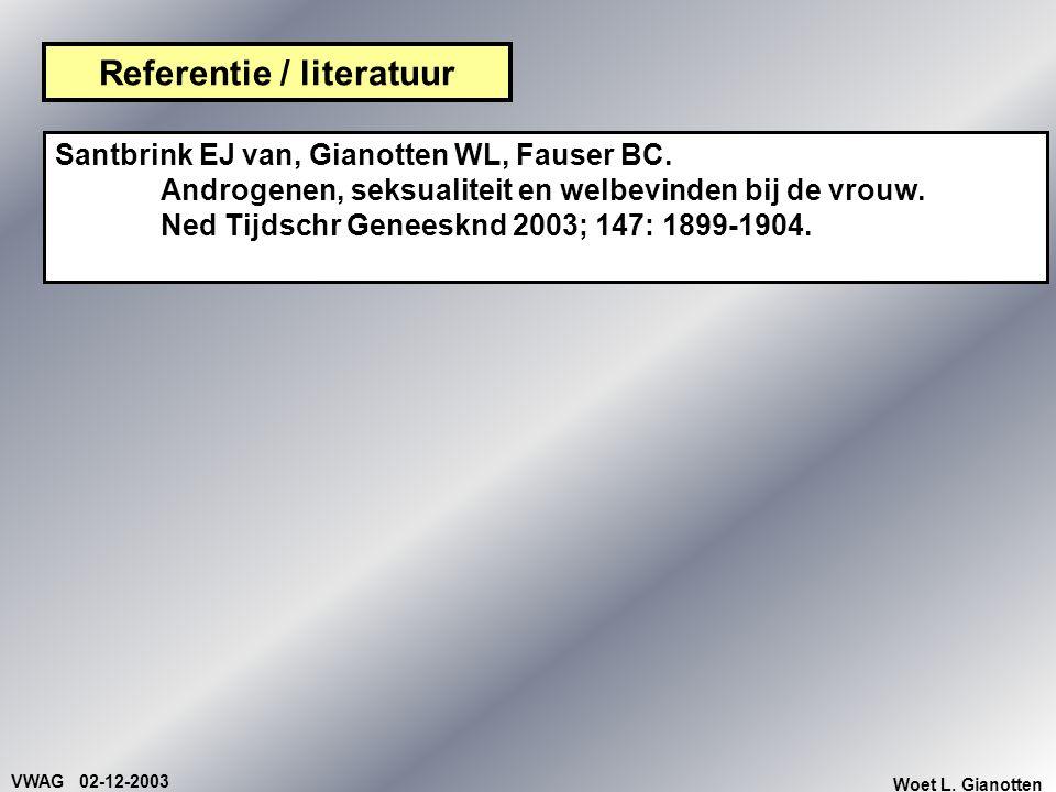 VWAG 02-12-2003 Woet L. Gianotten Referentie / literatuur Santbrink EJ van, Gianotten WL, Fauser BC. Androgenen, seksualiteit en welbevinden bij de vr