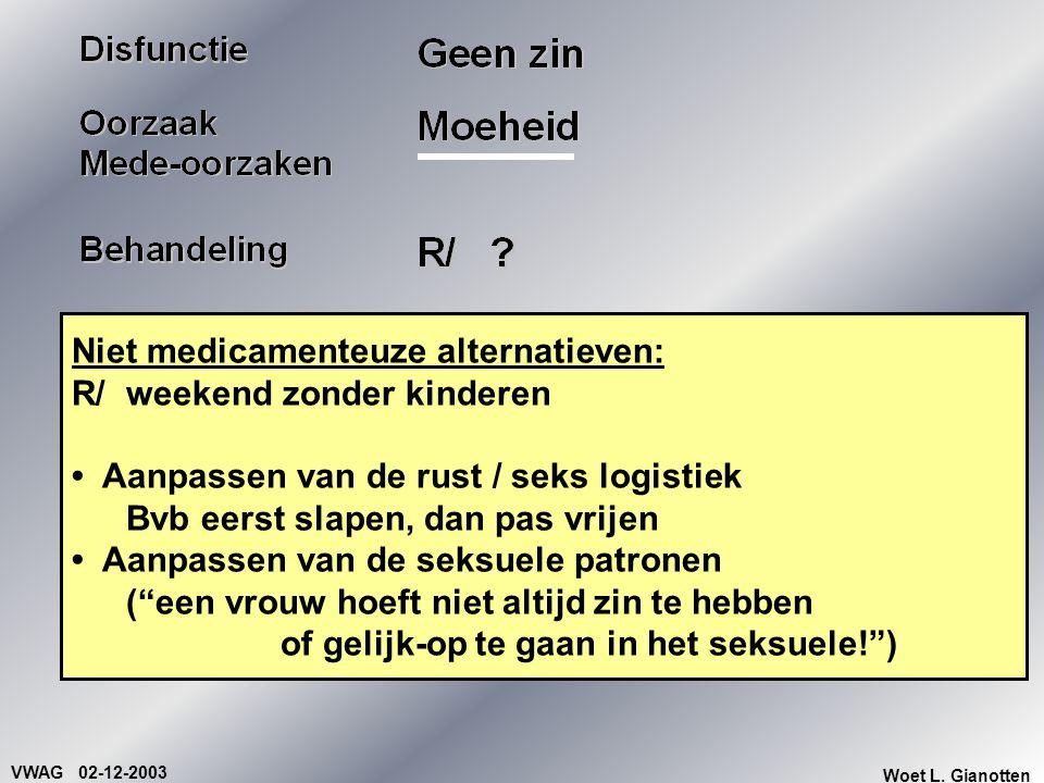 VWAG 02-12-2003 Woet L. Gianotten Niet medicamenteuze alternatieven: R/ weekend zonder kinderen Aanpassen van de rust / seks logistiek Bvb eerst slape