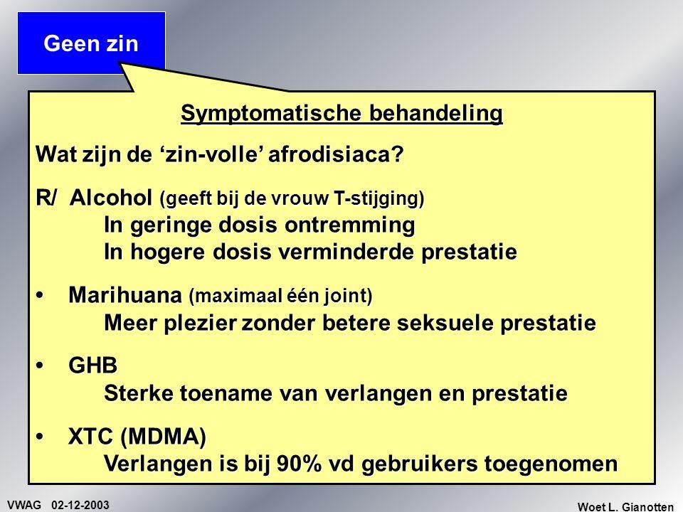 VWAG 02-12-2003 Woet L. Gianotten Geen zin Symptomatische behandeling Wat zijn de 'zin-volle' afrodisiaca? R/ Alcohol (geeft bij de vrouw T-stijging)