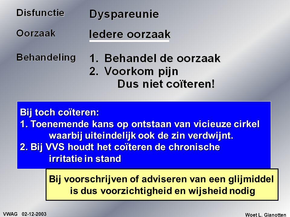 VWAG 02-12-2003 Woet L. Gianotten Bij toch coïteren: 1. Toenemende kans op ontstaan van vicieuze cirkel waarbij uiteindelijk ook de zin verdwijnt. 2.