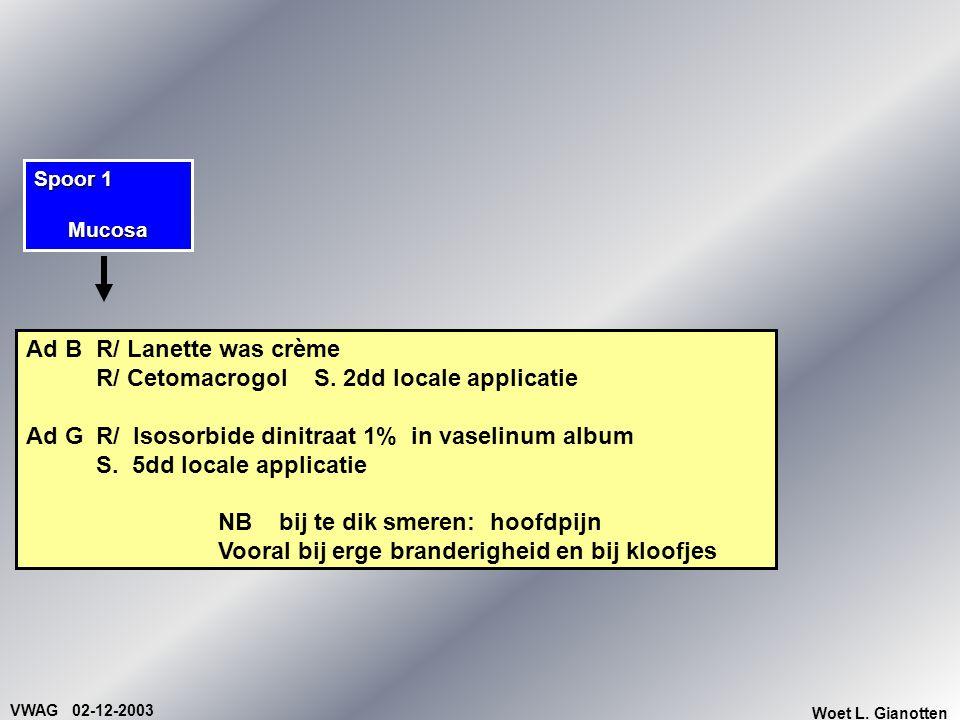 VWAG 02-12-2003 Woet L. Gianotten Ad BR/ Lanette was crème R/ CetomacrogolS. 2dd locale applicatie Ad GR/ Isosorbide dinitraat 1% in vaselinum album S
