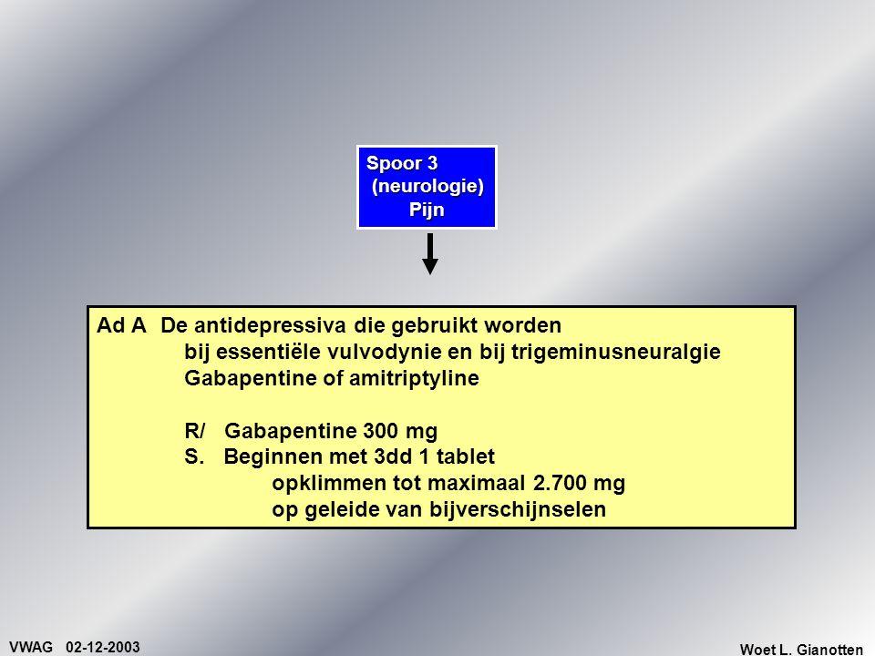 VWAG 02-12-2003 Woet L. Gianotten Spoor 3 (neurologie) (neurologie)Pijn Ad ADe antidepressiva die gebruikt worden bij essentiële vulvodynie en bij tri