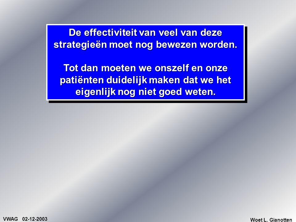 VWAG 02-12-2003 Woet L. Gianotten De effectiviteit van veel van deze strategieën moet nog bewezen worden. Tot dan moeten we onszelf en onze patiënten