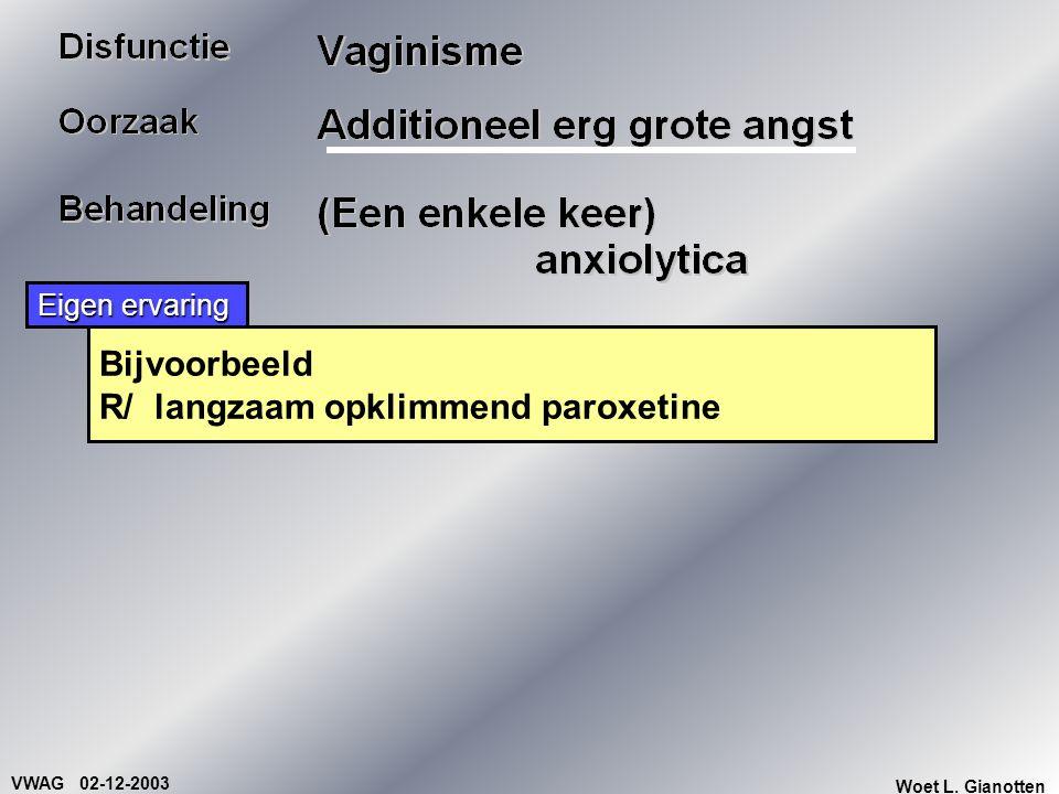 VWAG 02-12-2003 Woet L. Gianotten Bijvoorbeeld R/ langzaam opklimmend paroxetine Eigen ervaring