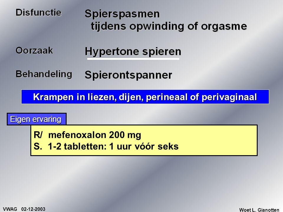 VWAG 02-12-2003 Woet L. Gianotten Krampen in liezen, dijen, perineaal of perivaginaal R/ mefenoxalon 200 mg S. 1-2 tabletten: 1 uur vóór seks Eigen er