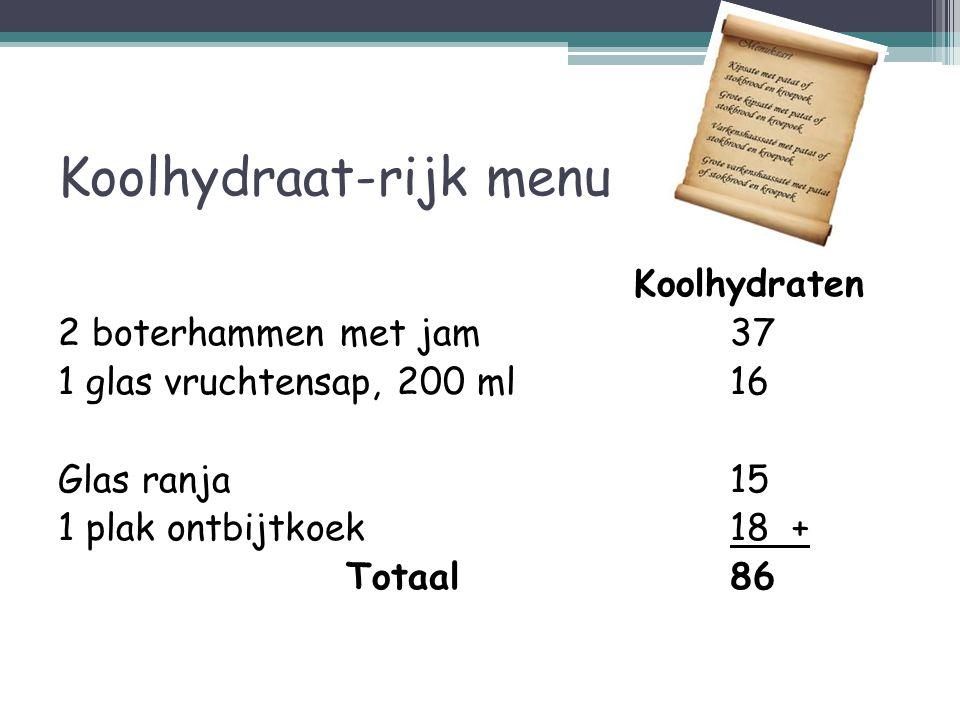 Koolhydraat-rijk menu Koolhydraten 2 boterhammen met jam37 1 glas vruchtensap, 200 ml16 Glas ranja15 1 plak ontbijtkoek18 + Totaal86