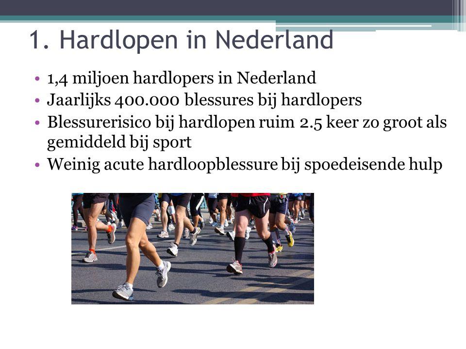 1. Hardlopen in Nederland 1,4 miljoen hardlopers in Nederland Jaarlijks 400.000 blessures bij hardlopers Blessurerisico bij hardlopen ruim 2.5 keer zo