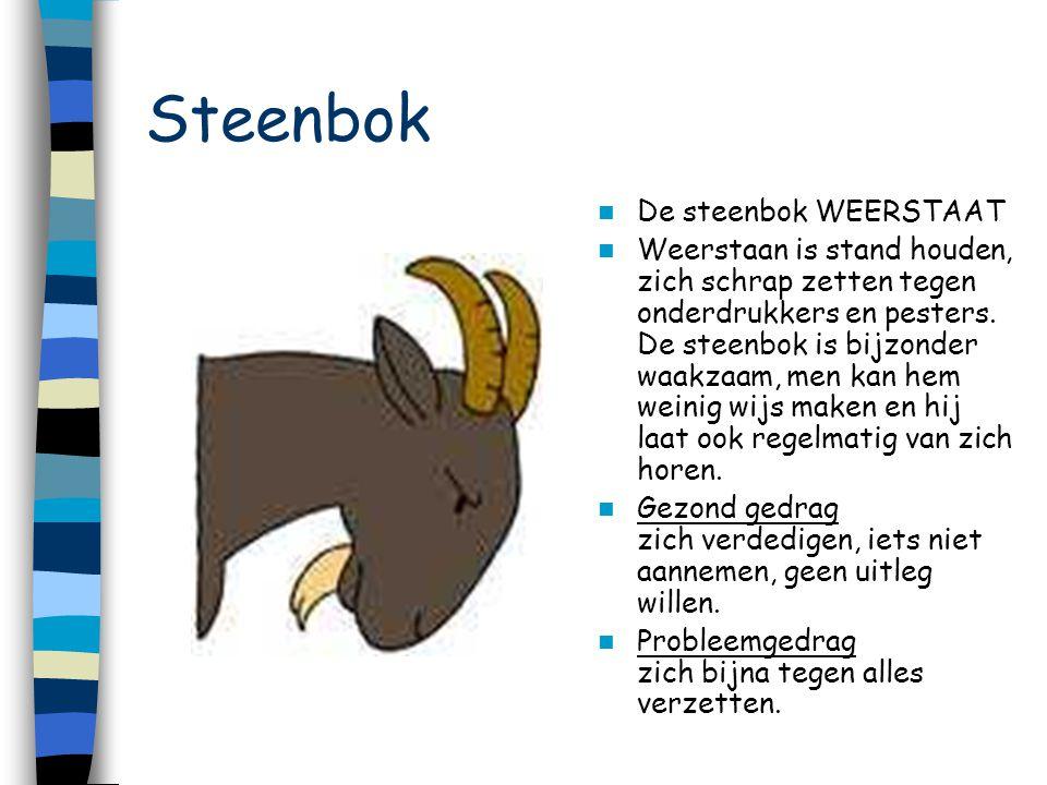 Steenbok De steenbok WEERSTAAT Weerstaan is stand houden, zich schrap zetten tegen onderdrukkers en pesters. De steenbok is bijzonder waakzaam, men ka