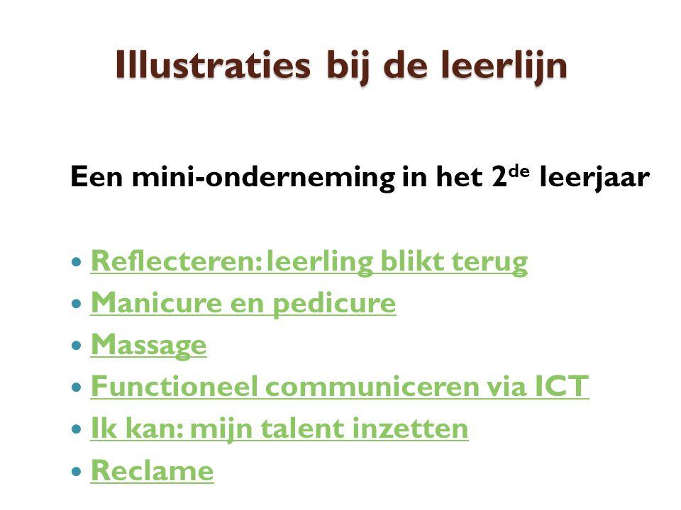 Illustraties bij de leerlijn Een mini-onderneming in het 2 de leerjaar Reflecteren: leerling blikt terug Manicure en pedicure Massage Functioneel communiceren via ICT Ik kan: mijn talent inzetten Reclame
