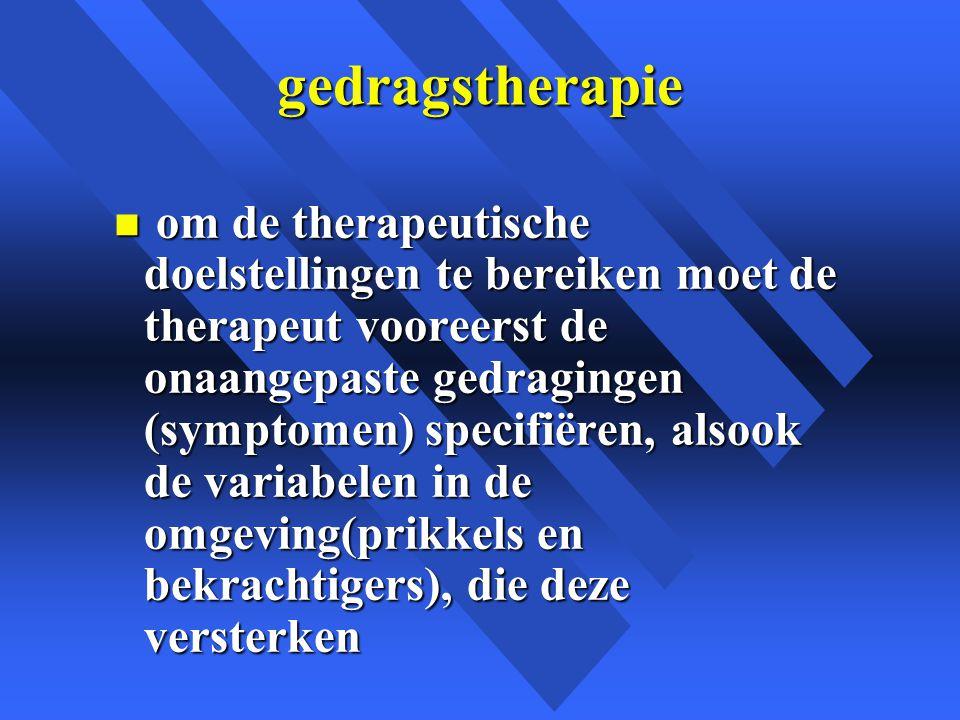 gedragstherapie n om de therapeutische doelstellingen te bereiken moet de therapeut vooreerst de onaangepaste gedragingen (symptomen) specifiëren, alsook de variabelen in de omgeving(prikkels en bekrachtigers), die deze versterken