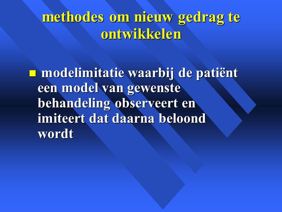 methodes om nieuw gedrag te ontwikkelen n modelimitatie waarbij de patiënt een model van gewenste behandeling observeert en imiteert dat daarna beloond wordt