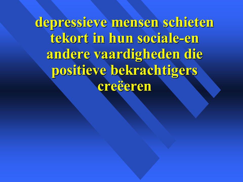 depressieve mensen schieten tekort in hun sociale-en andere vaardigheden die positieve bekrachtigers creëeren