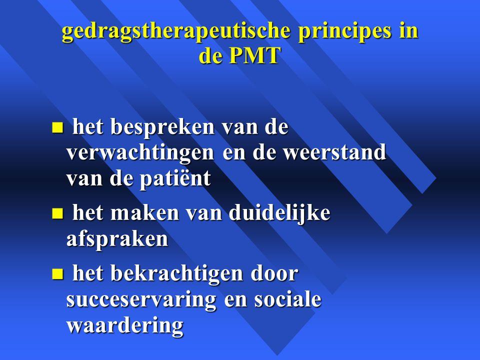 gedragstherapeutische principes in de PMT n het bespreken van de verwachtingen en de weerstand van de patiënt n het maken van duidelijke afspraken n het bekrachtigen door succeservaring en sociale waardering