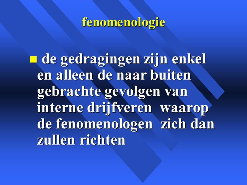 fenomenologie n de gedragingen zijn enkel en alleen de naar buiten gebrachte gevolgen van interne drijfveren waarop de fenomenologen zich dan zullen richten