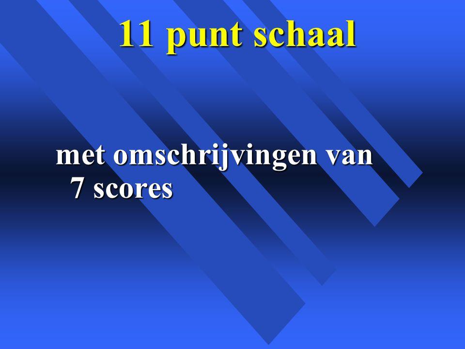 11 punt schaal met omschrijvingen van 7 scores