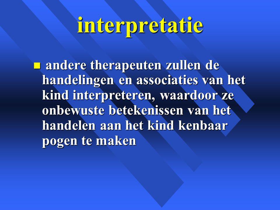 interpretatie n andere therapeuten zullen de handelingen en associaties van het kind interpreteren, waardoor ze onbewuste betekenissen van het handelen aan het kind kenbaar pogen te maken
