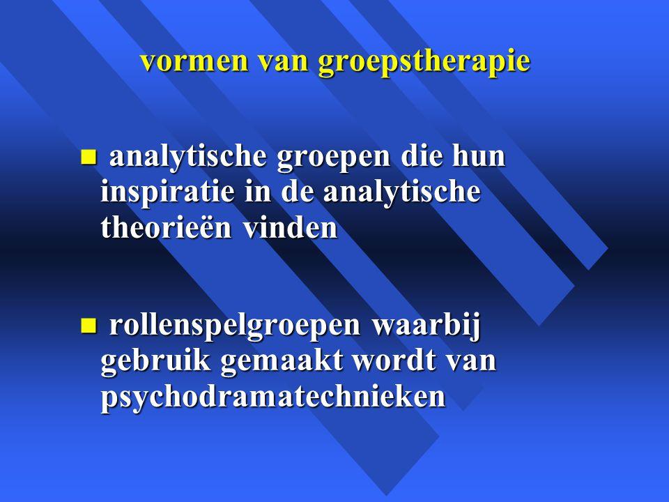 vormen van groepstherapie n analytische groepen die hun inspiratie in de analytische theorieën vinden n rollenspelgroepen waarbij gebruik gemaakt wordt van psychodramatechnieken