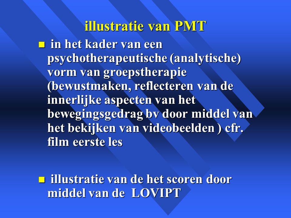 illustratie van PMT n in het kader van een psychotherapeutische (analytische) vorm van groepstherapie (bewustmaken, reflecteren van de innerlijke aspecten van het bewegingsgedrag bv door middel van het bekijken van videobeelden ) cfr.